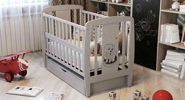 Детская кроватка с ящиком, маятником, Собачка, жираф, мишка, ТМ Дубок