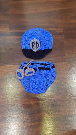 Strój sesja noworodek policjant