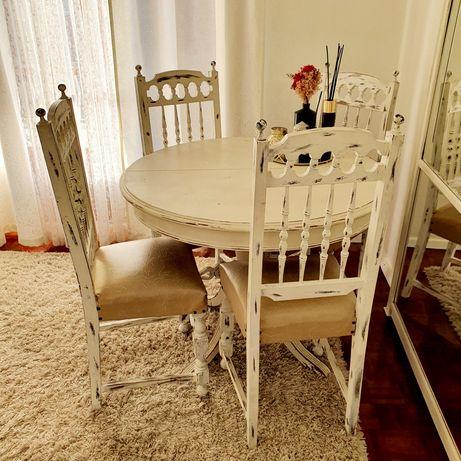Mesa extensível vintage c/ cadeiras