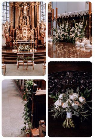 Usługi dekoracji sal weselnych, kościołów, ślubów plenerowych.