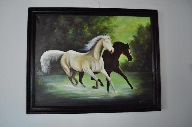 Obraz malowany konie drewniana rama duży czarny 100x80 karre brw ikea