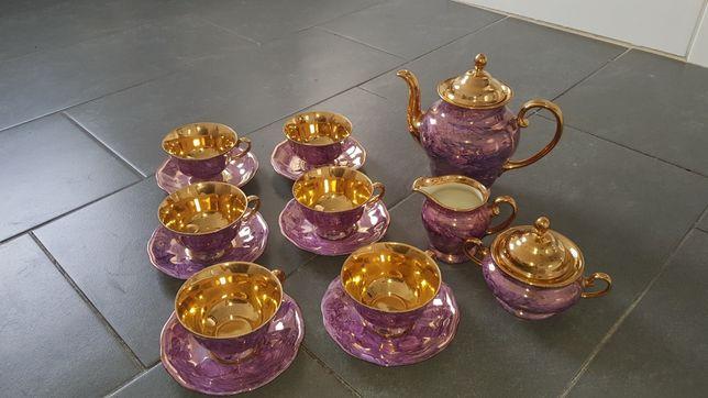 Serwis kawowy zastawa PRL porcelana fioletowa złota