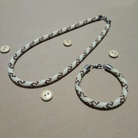 Komplet biżuterii handmade - beż i złoto - szklane koraliki