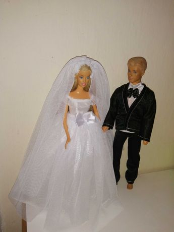 Suknia ślubna dla lalki, garnitur