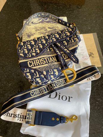 Carteira Bolsa Christian Dior Saddle  Azul C/Cx Nova