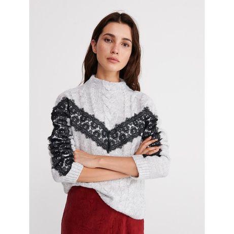 Reserved Sweter z ozdobną koronką S M KORONKA szary