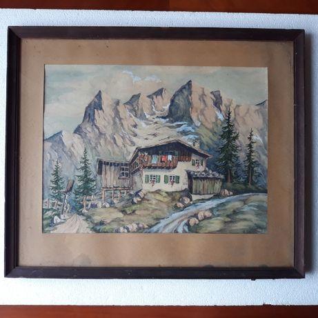 Stary obraz za szkłem góry, chata, akwarela, sygnowany Schmidt