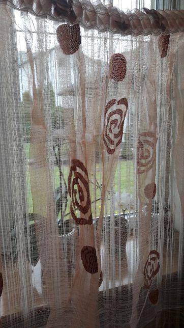 Organtyna pomarańcz-łosoś szer 200 x 140 wys firanka kwiaty,firana