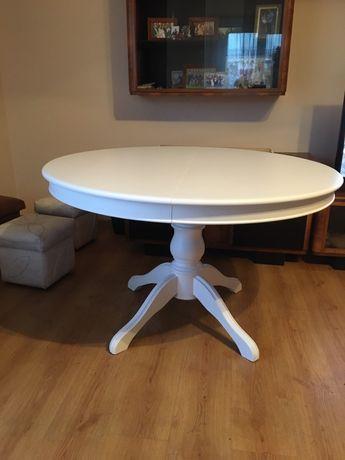 Stół, ława biała okragła, po renowacji Polecam