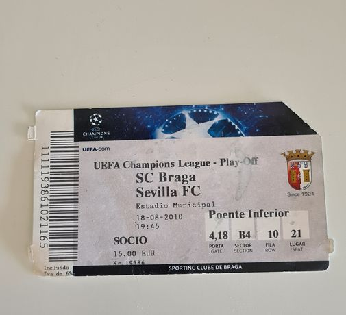 Bilhetes Europeus SC Braga