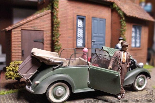 Diorama Modelo Vintage em Escala Mercedes Benz 170 V escala 1:35