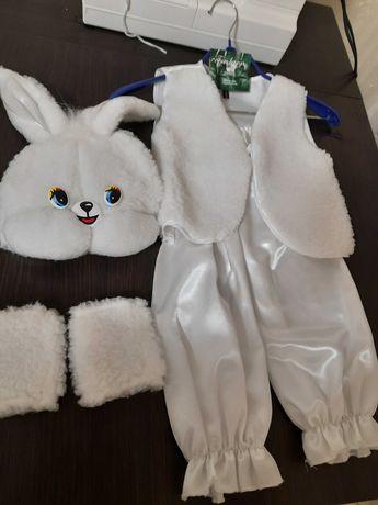 Костюм зайчика карнавальный, белый зайчик, новогодний зайка