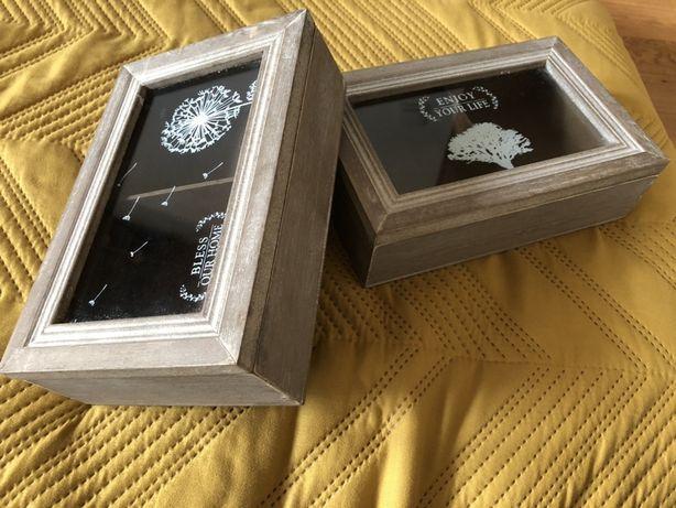 Pudełka drewniane ze szklem organizery vintage boho bizuteria