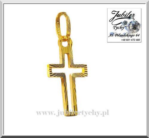 Złoty krzyżyk grawerowany złoto Au 585 Jubiler Tychy