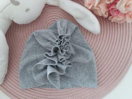 Szara czapka turban na obwód głowy 36/38 handmade