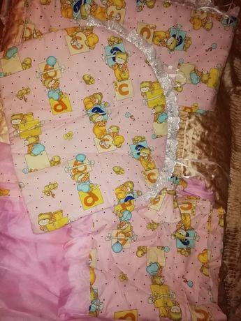 Комплект в кроватку балдахин постель детская