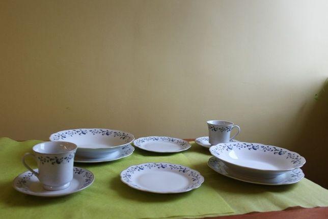 Serwis obiadowo-kawowy porcelana niebiesko-złote akcenty nowe Domotti