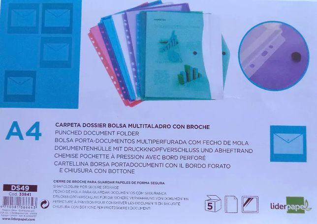 Bolsas Porta Documentos A4 Multiperfurada com Fecho - 5 unidades