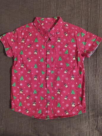 Новогодняя, новорічна, рубашка, сорочка, теніска, 4-5 лет, років