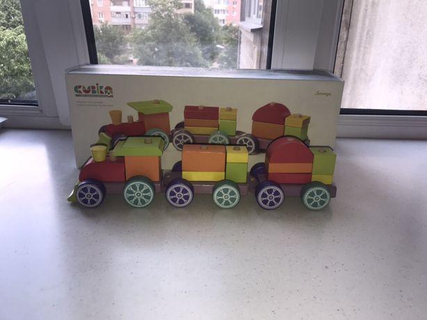 Cubika деревянный конструктор поезд