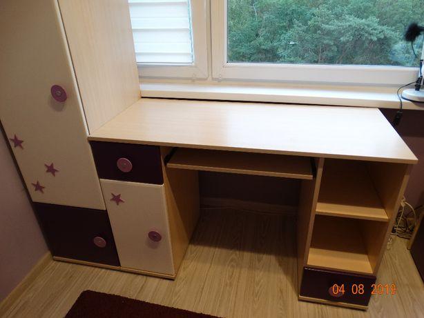 Zestaw mebli do pokoju dziewczęcego łóżko z materacem, biurko, szafa