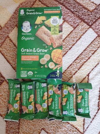 Gerber, Organic, Grain & Grow, мягкие запеченные зерновые батончики