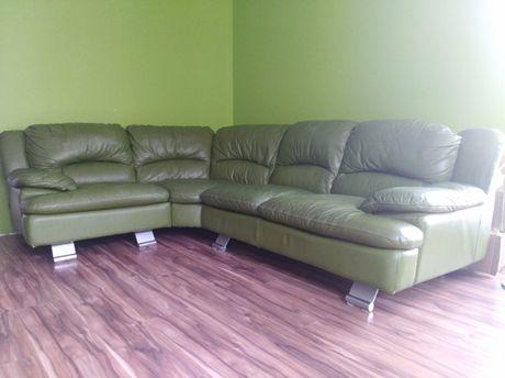 sofa narożna 250 x 200 cm zielona oliwka