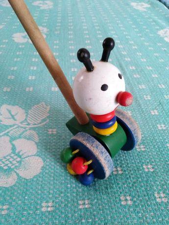 Натуральная деревянная ИГРУШКА каталка УЛИТКА на колесах со звуком