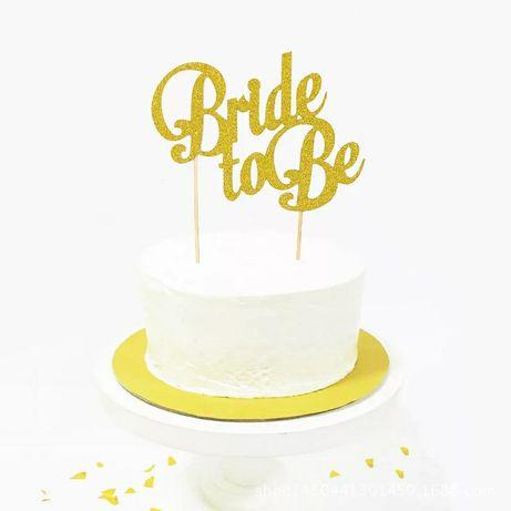Złoty, brokatowy topper na z napisem Bride to Be