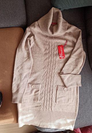 Sprzedam NOWY długi sweter/tunikę z golfem w rozm. XL/XXL