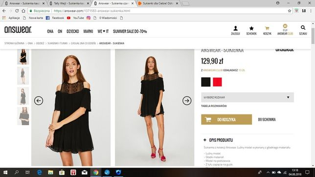 Czarna sukienka answear
