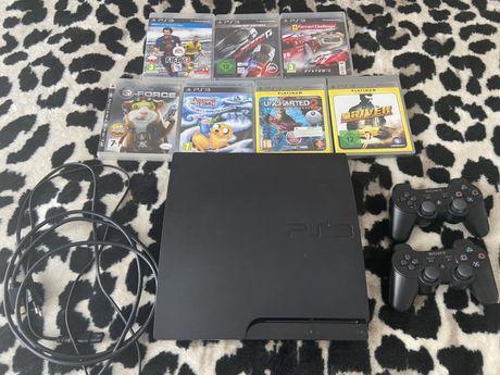 Mega zestaw Konsola PS3 Slim Zadbana 7 gier 2 pady