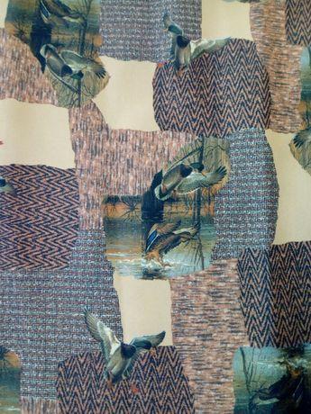 Retalho de tecido tipo seda estampado pato