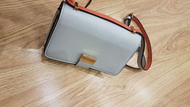 Zara błękitna kopertówka torebka mini