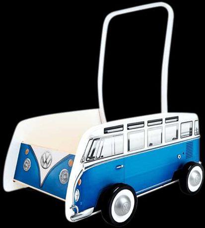 NOWY Pchacz, Chodzik Wózek VW BUS T1 DREWNIANY Roczek