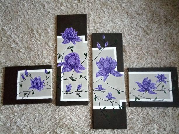 Obraz tryptyk ręcznie malowany akryl magnolie