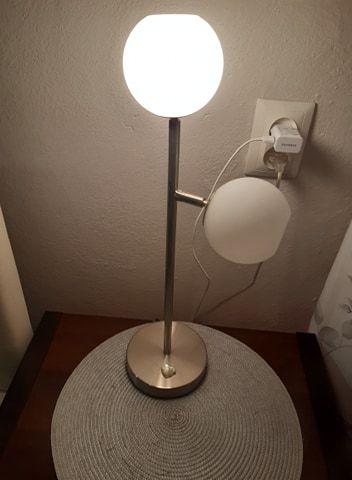 Lampa stołowa dwie białe kule