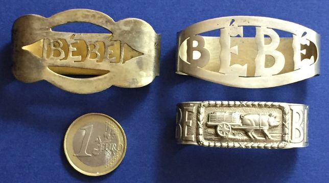 lote 3 argolas de guardanapos - prata