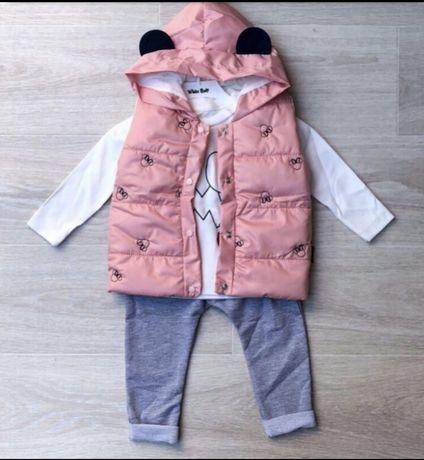 Детский костюм тройка на девочку Турция 86-92-98 см (1-2-3) года