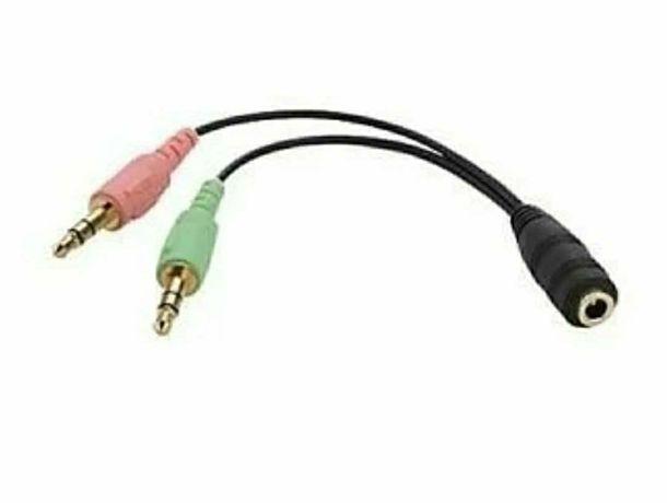 Cabo Jack 3.5mm (femêa) + 2x Jack 3.5 mm (macho) Mic + Audio