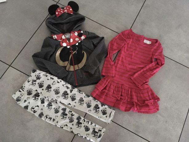 Zestaw h&m Cool Club bluza Minnie sukienka tregginsy