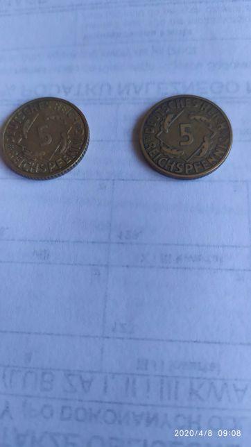 Monety Rzesza 5 pfeningów 1936 i 1925r kłosy rzadkie