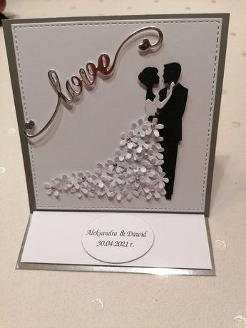 Kartka sztalugowa w pudełku ręcznie wykonana ślub