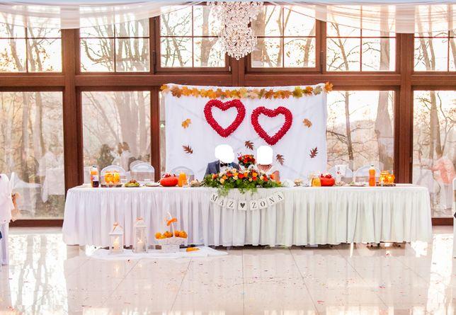 Ogromne 2 serca z jabłuszek na ślub wesele ścianka