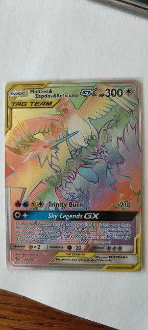 Karta Pokemon Articuno&Moltres&Zapdos GX Rainbow Rare hidden fates