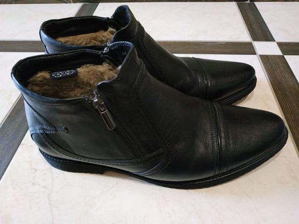 Мужские ботинки р.43,кожа,мех