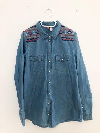 Koszula jeansowa z haftem H&M 36