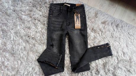 Nowe Spodnie skinny rurki laulia 34 xs wysoki stan grafitowe