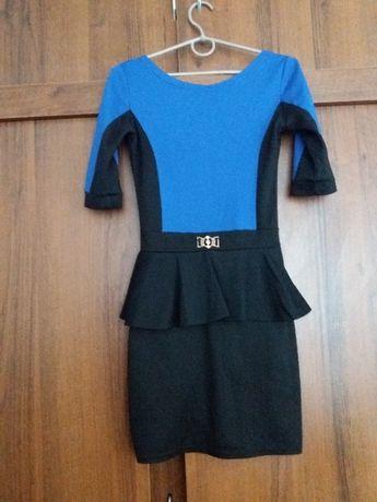 Черно-синее платье с баской