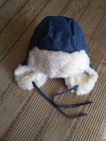Меховая шапка цвет синий с белым, объем головы 48